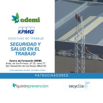 """Próximo desayuno de trabajo organizado por KPMG y ADEMI: """"Seguridad y Salud en el Trabajo"""". 24 de septiembre"""